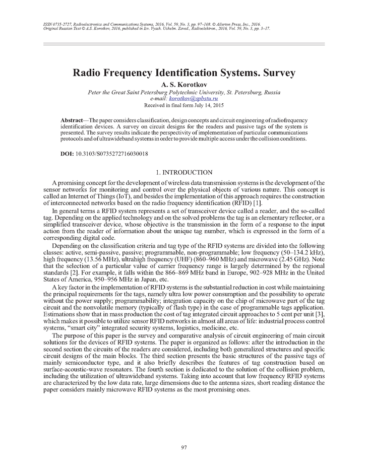 Korotkov, A.S. Radio frequency identification systems. Survey (2016).  doi: 10.3103/S0735272716030018.