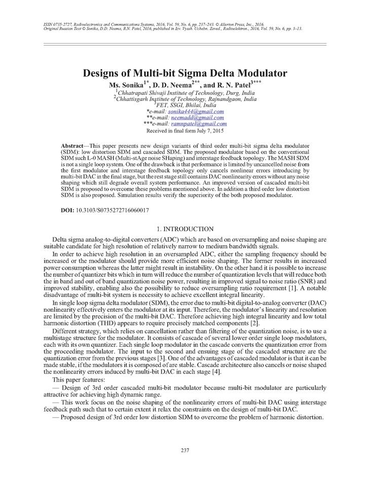 Sonika, M. Designs of multi-bit sigma delta modulator (2016).  doi: 10.3103/S0735272716060017.