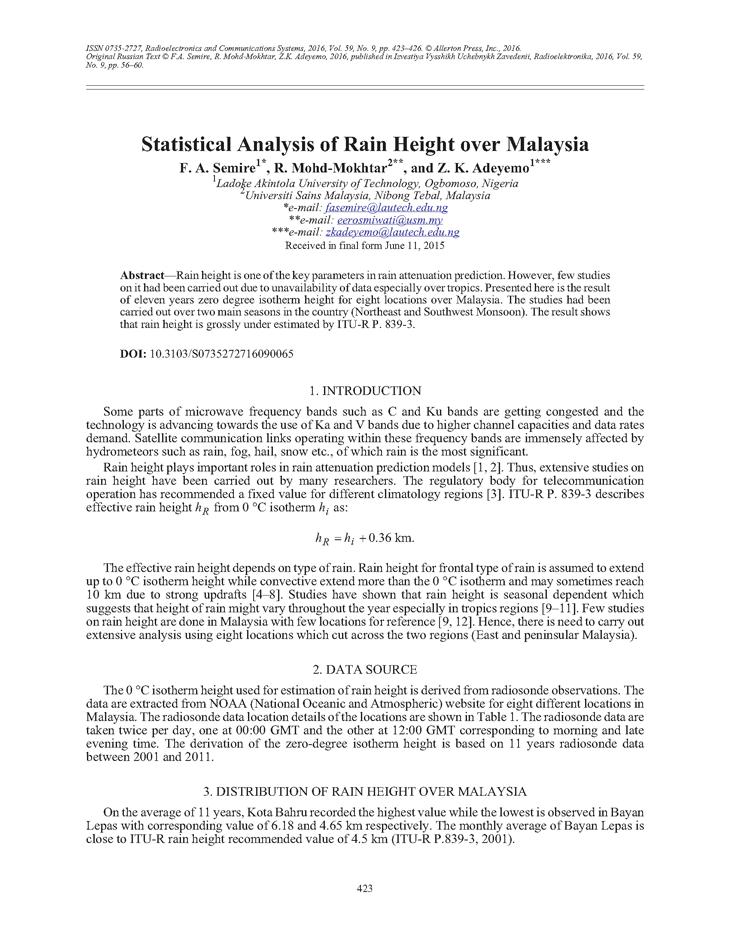 Semire, F.A. Statistical analysis of rain height over Malaysia (2016).  doi: 10.3103/S0735272716090065.