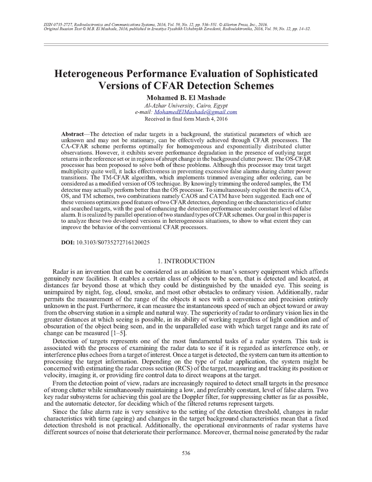 El Mashade, M.B. Heterogeneous performance evaluation of sophisticated versions of CFAR detection schemes (2016).  doi: 10.3103/S0735272716120025.