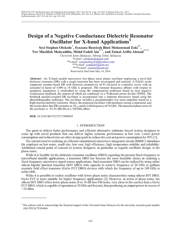Olokede, S.S. Design of a negative conductance dielectric resonator oscillator for X-band applications (2017).  doi: 10.3103/S0735272717090059.