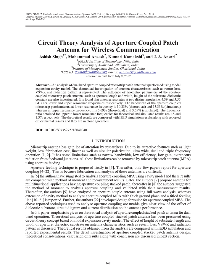 Singh, A. Circuit theory analysis of aperture coupled patch antenna for wireless communication (2018).  doi: 10.3103/S0735272718040040.