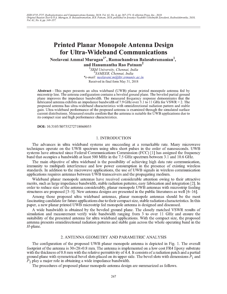 Murugan, N.A. Printed planar monopole antenna design for ultra-wideband communications (2018).  doi: 10.3103/S0735272718060055.