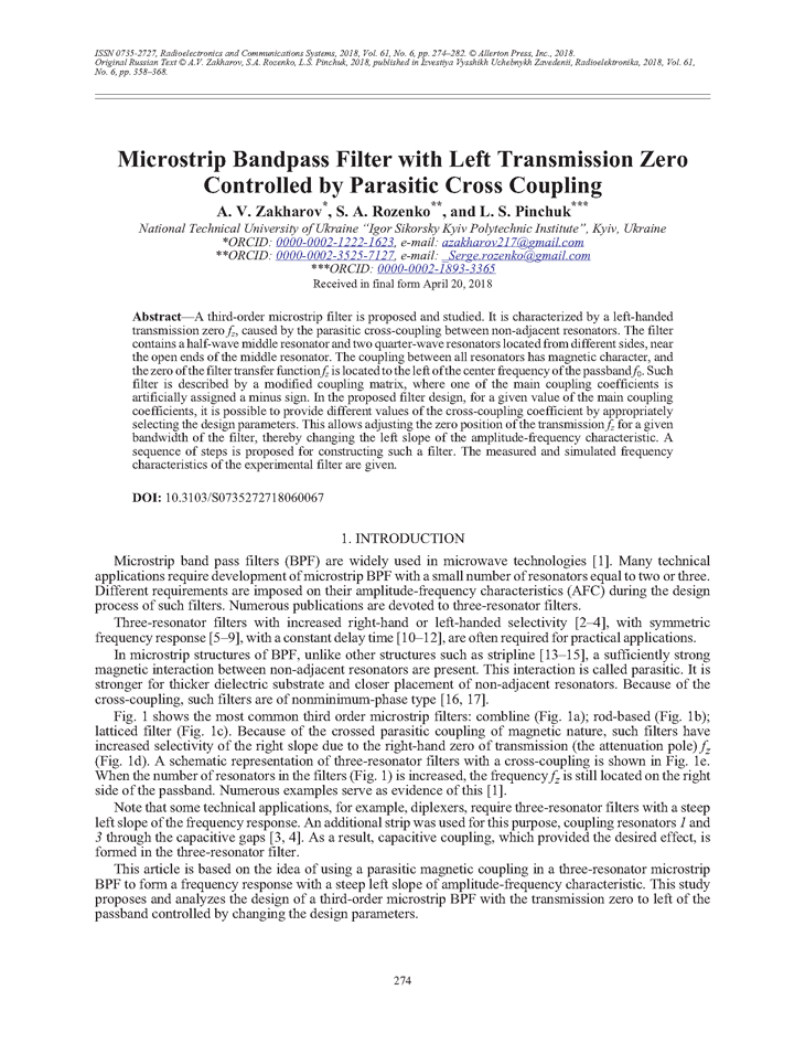 Zakharov, A.V. Microstrip bandpass filter with left transmission zero controlled by parasitic cross coupling (2018).  doi: 10.3103/S0735272718060067.