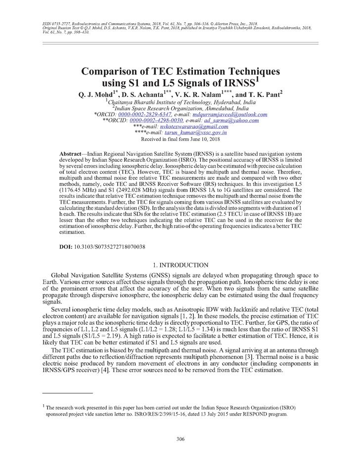 Mohd, Q.J. Comparison of TEC estimation techniques using S1 and L5 signals of IRNSS (2018).  doi: 10.3103/S0735272718070038.