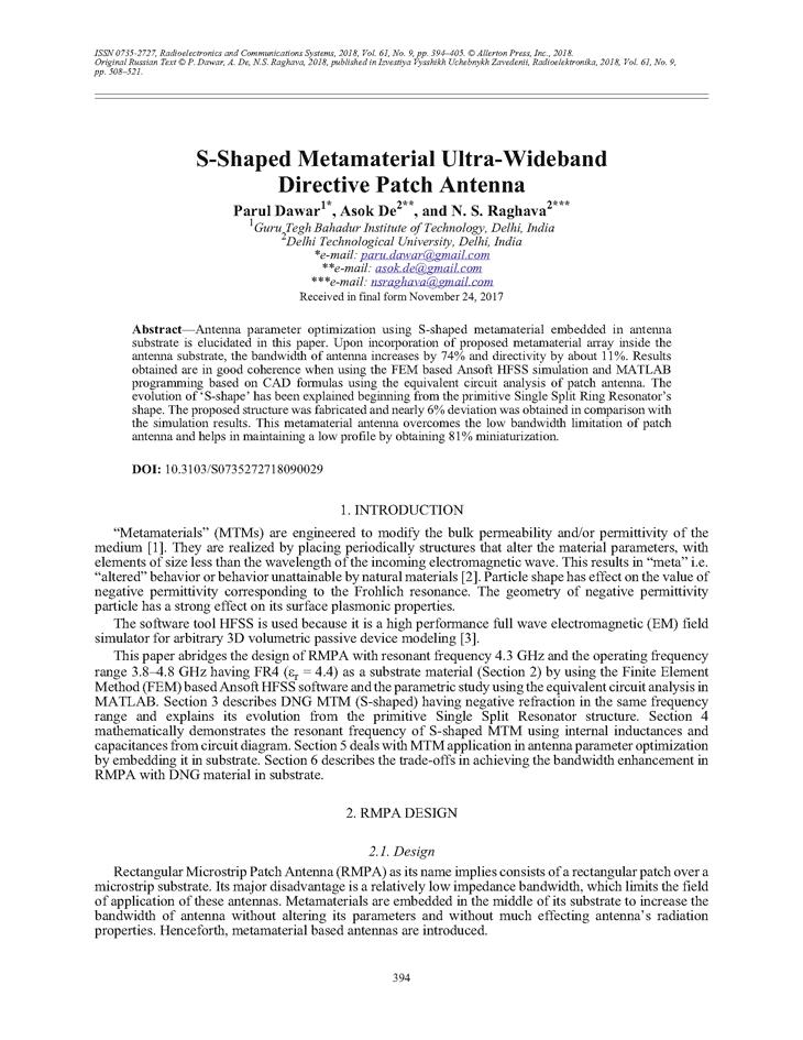 Dawar, P. S-shaped metamaterial ultra-wideband directive patch antenna (2018).  doi: 10.3103/S0735272718090029.