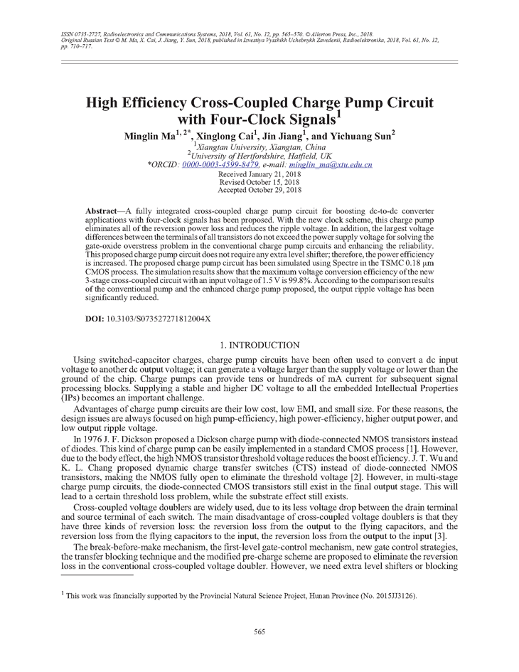 Ma, M. High efficiency cross-coupled charge pump circuit with four-clock signals (2018).  doi: 10.3103/S073527271812004X.