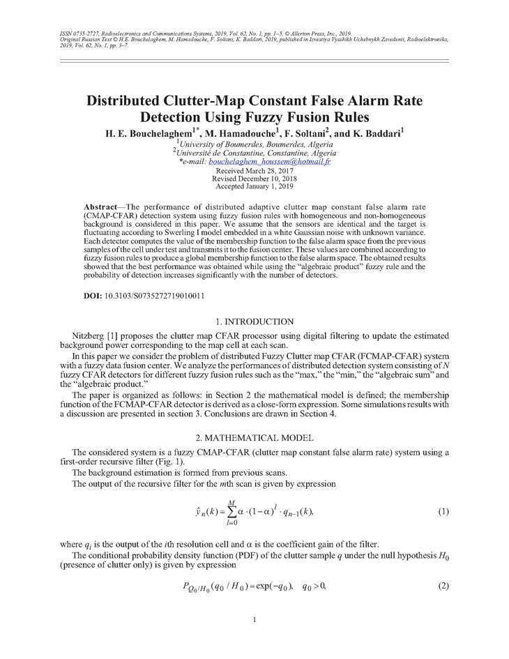 Bouchelaghem, H.E. Distributed clutter-map constant false alarm rate detection using fuzzy fusion rules (2019).  doi: 10.3103/S0735272719010011.