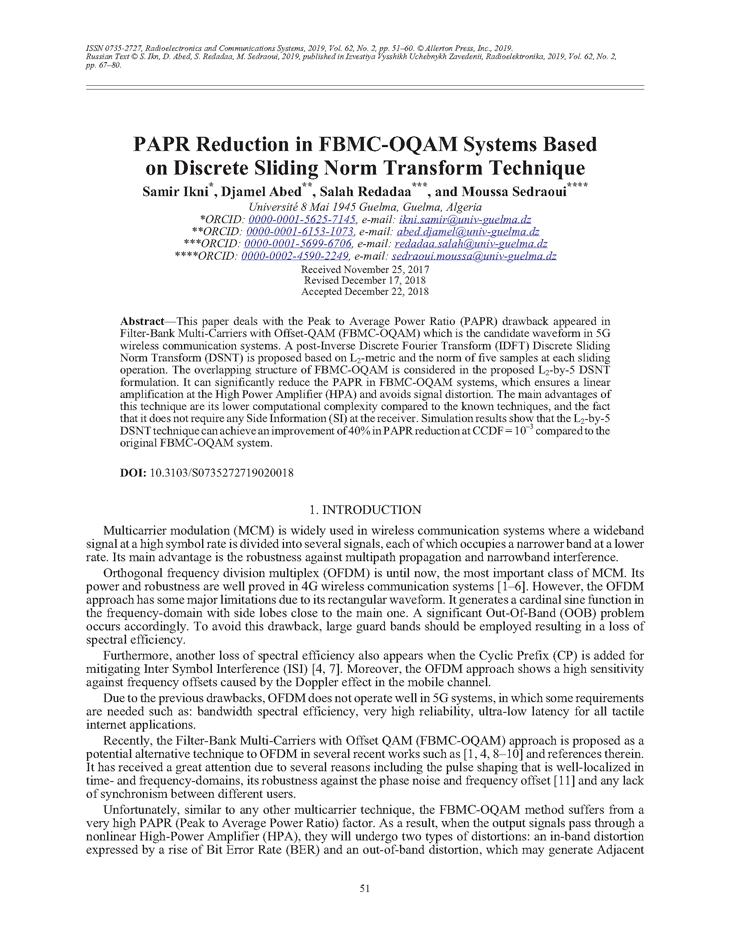 Ikni, S. PAPR reduction in FBMC-OQAM systems based on discrete sliding norm transform technique (2019).  doi: 10.3103/S0735272719020018.