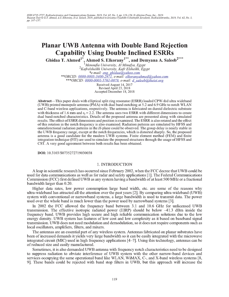 Ahmed, G.T. Planar UWB antenna with double band rejection capability using double inclined ESRRs (2019).  doi: 10.3103/S0735272719030038.