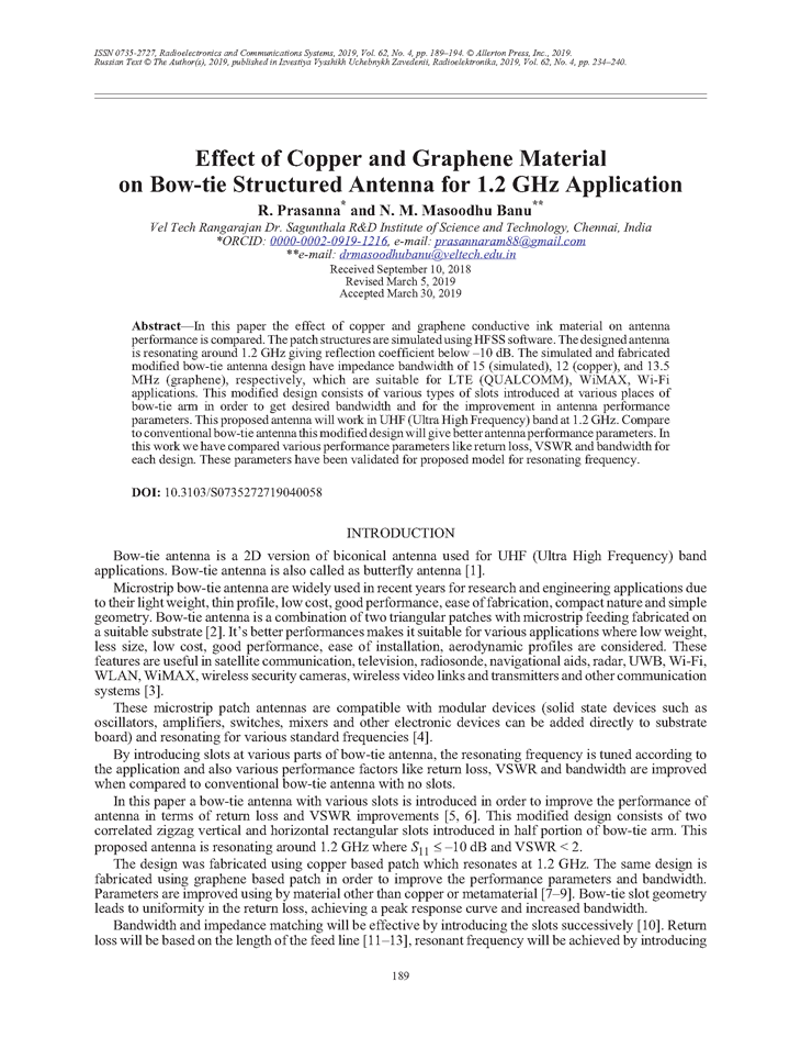 Prasanna, R.M. Effect of copper and graphene material on bow-tie structured antenna for 1.2 GHz application (2019).  doi: 10.3103/S0735272719040058.