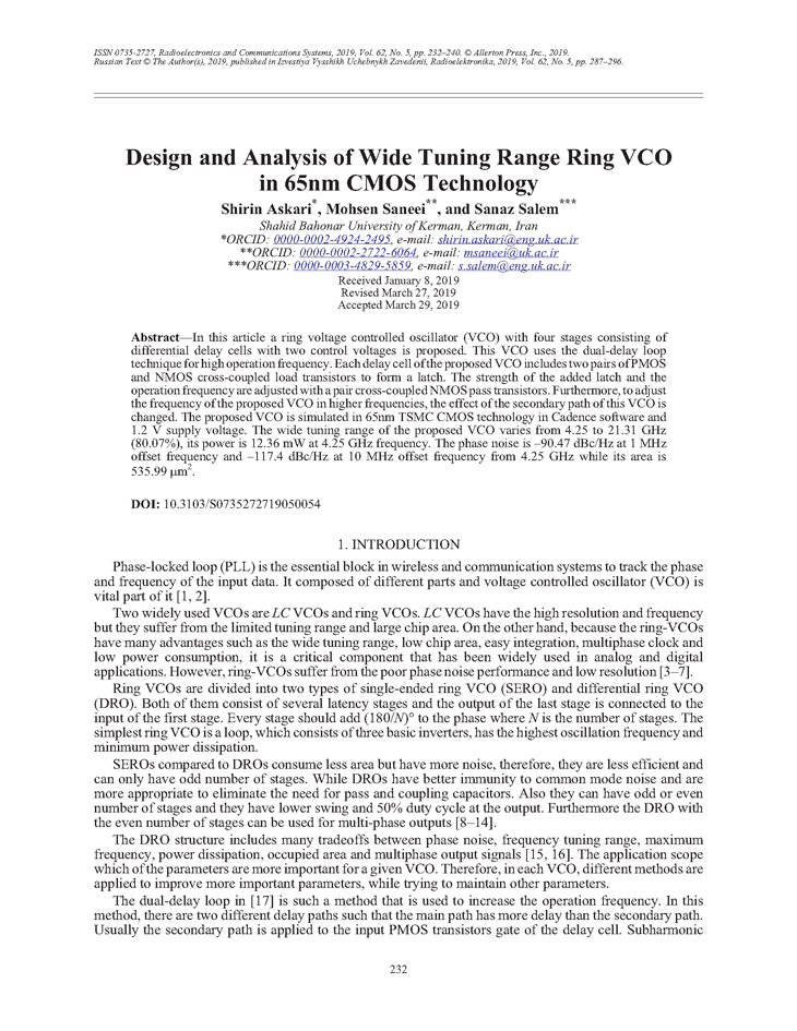 Askari, S. Design and analysis of wide tuning range ring VCO in 65nm CMOS technology (2019).  doi: 10.3103/S0735272719050054.