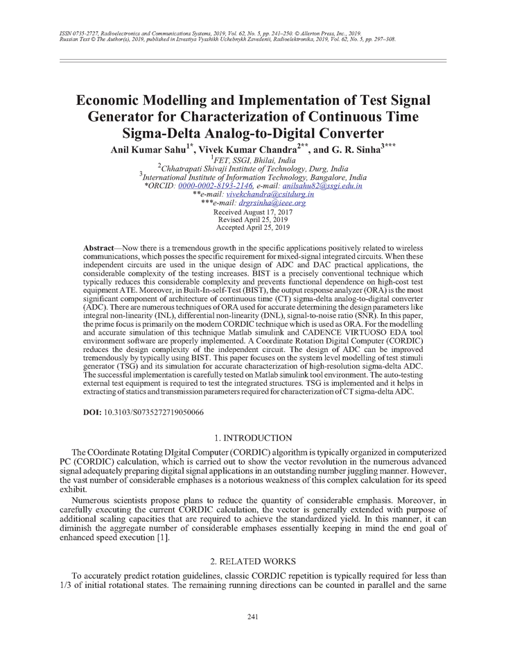 Sahu, A.K. Economic modelling and implementation of test signal generator for characterization of continuous time sigma-delta analog-to-digital converter (2019).  doi: 10.3103/S0735272719050066.