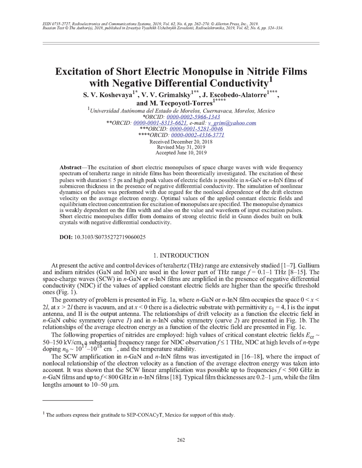 Koshevaya, S.V. Excitation of short electric monopulse in nitride films with negative differential conductivity (2019).  doi: 10.3103/S0735272719060025.