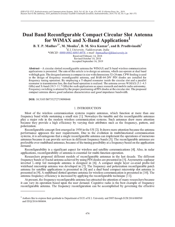 Madhav, B.T. Dual band reconfigurable compact circular slot antenna for WiMAX and X-band applications (2019).  doi: 10.3103/S0735272719090048.