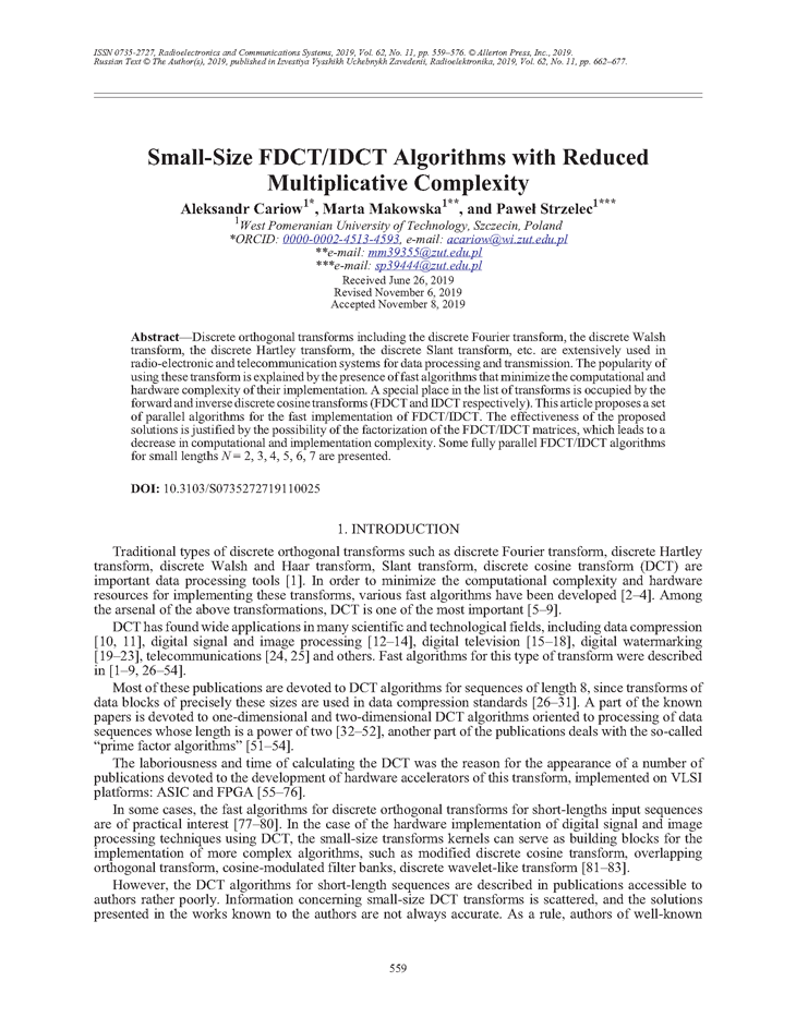 Cariow, A. Small-size FDCT/IDCT algorithms with reduced multiplicative complexity (2019).  doi: 10.3103/S0735272719110025.