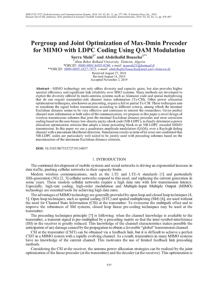 Mahi, S. Pergroup and joint optimization of max-dmin precoder for MIMO with LDPC coding using QAM modulation (2019).  doi: 10.3103/S0735272719110037.