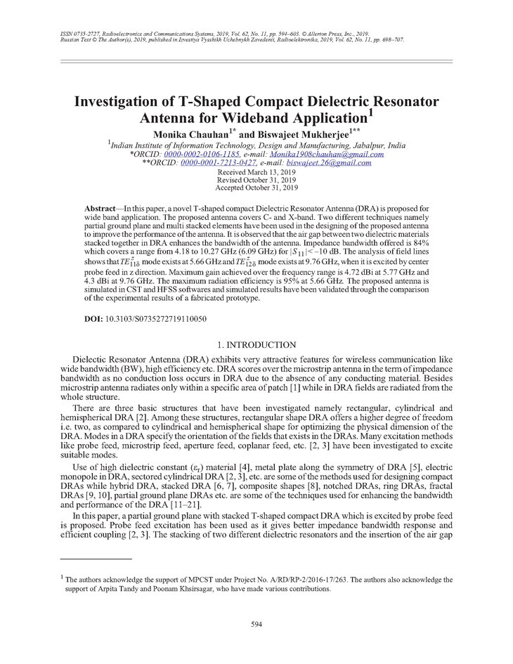Chauhan, M. Investigation of T-shaped compact dielectric resonator antenna for wideband application (2019).  doi: 10.3103/S0735272719110050.