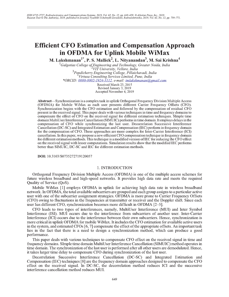 Lakshmanan, M. Efficient CFO estimation and compensation approach in OFDMA for uplink mobile WiMAX (2019).  doi: 10.3103/S0735272719120057.