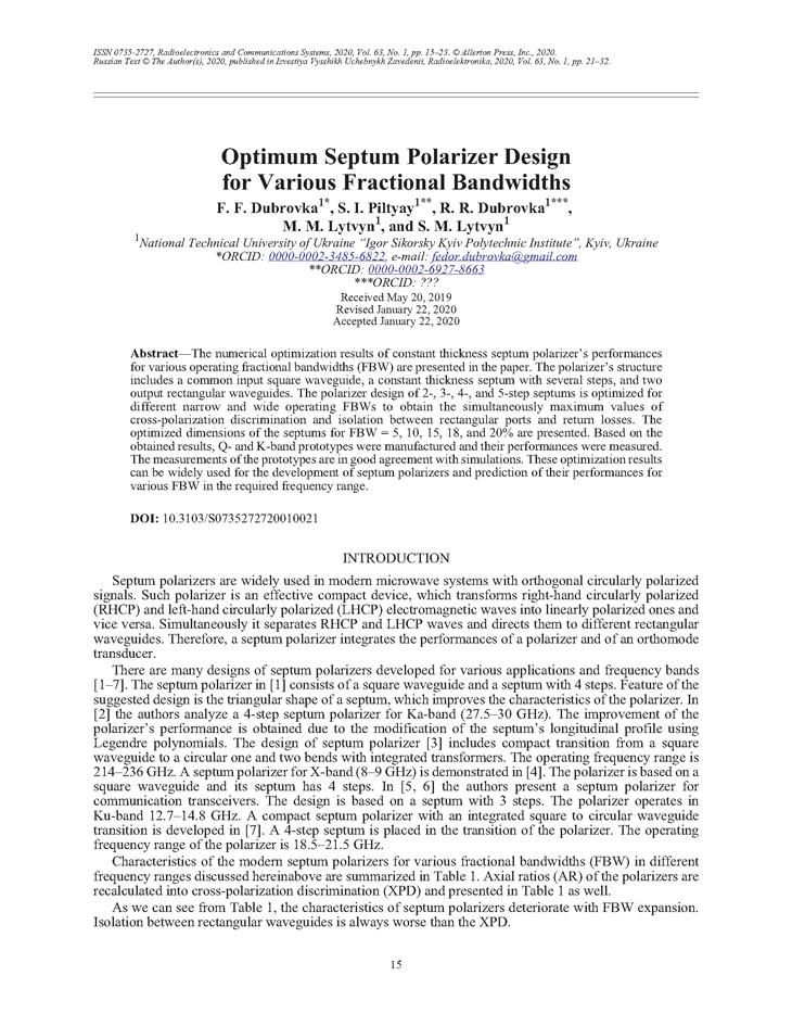 Dubrovka, F.F. Optimum septum polarizer design for various fractional bandwidths (2020).  doi: 10.3103/S0735272720010021.