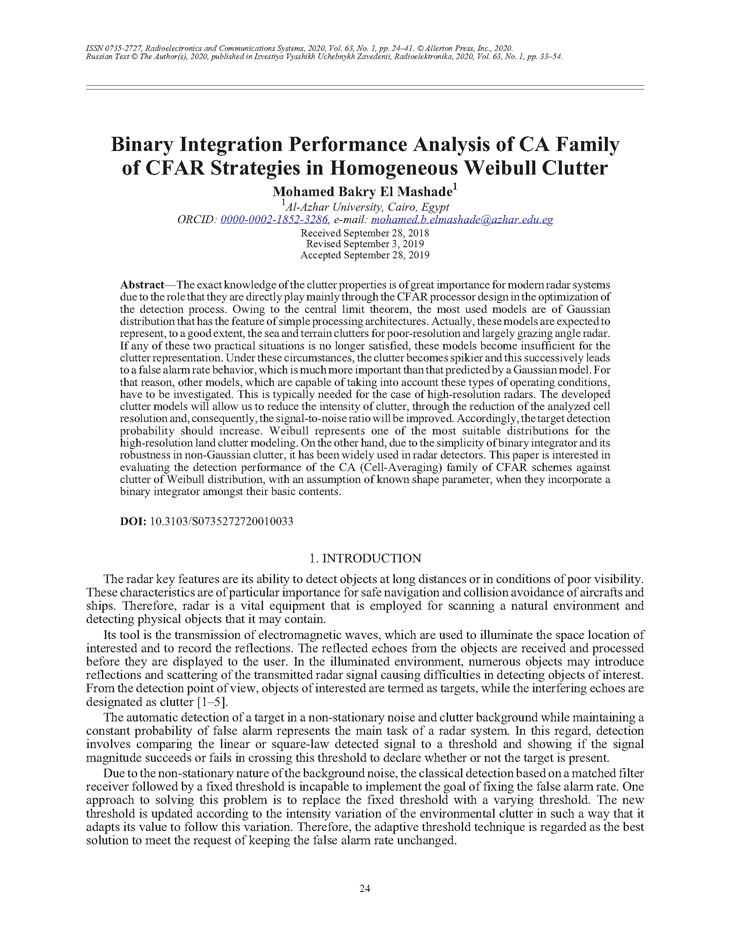 El Mashade, M.B. Binary integration performance analysis of CA family of CFAR strategies in homogeneous Weibull clutter (2020).  doi: 10.3103/S0735272720010033.