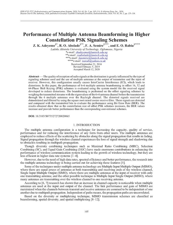 Adeyemo, Z.K. Performance of multiple antenna beamforming in higher constellation PSK signaling schemes (2020).  doi: 10.3103/S0735272720020065.
