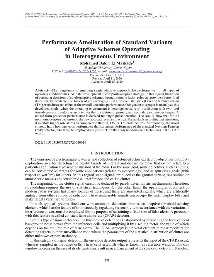 El Mashade, M.B. Performance amelioration of standard variants of adaptive schemes operating in heterogeneous environment (2020).  doi: 10.3103/S0735272720040019.