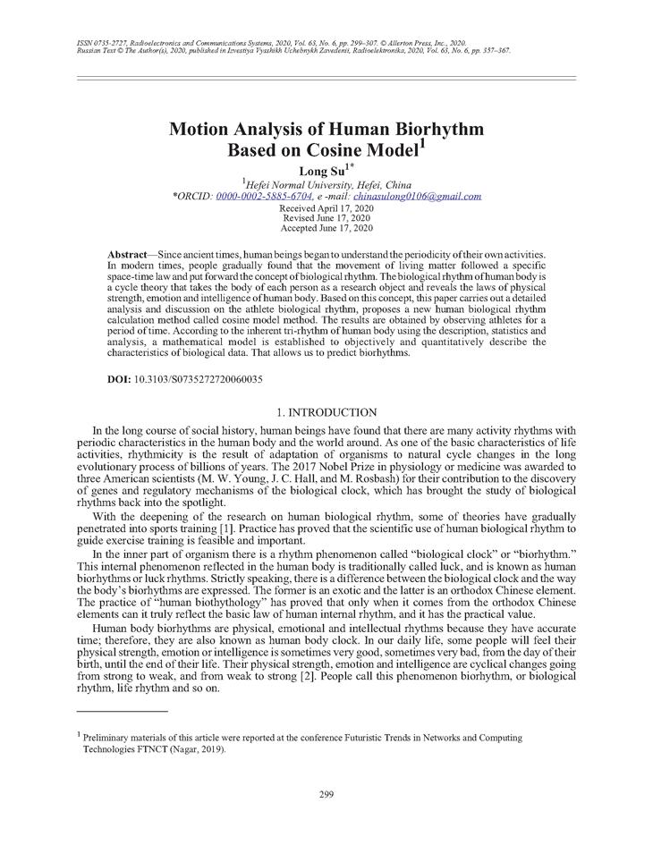 Su, L. Motion analysis of human biorhythm based on cosine model (2020).  doi: 10.3103/S0735272720060035.