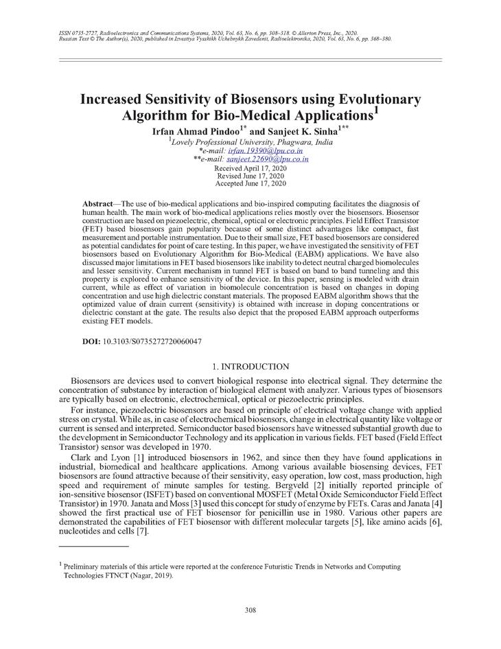 Pindoo, I.A. Increased sensitivity of biosensors using evolutionary algorithm for bio-medical applications (2020).  doi: 10.3103/S0735272720060047.