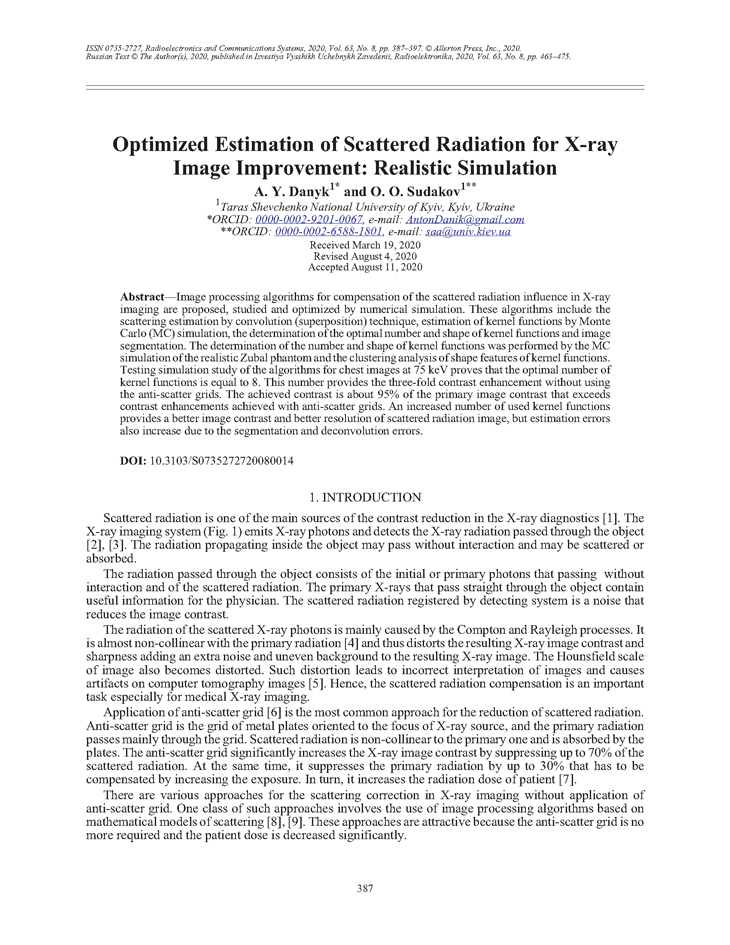 Danyk, A.Y. Optimized estimation of scattered radiation for X-ray image improvement: Realistic simulation (2020).  doi: 10.3103/S0735272720080014.