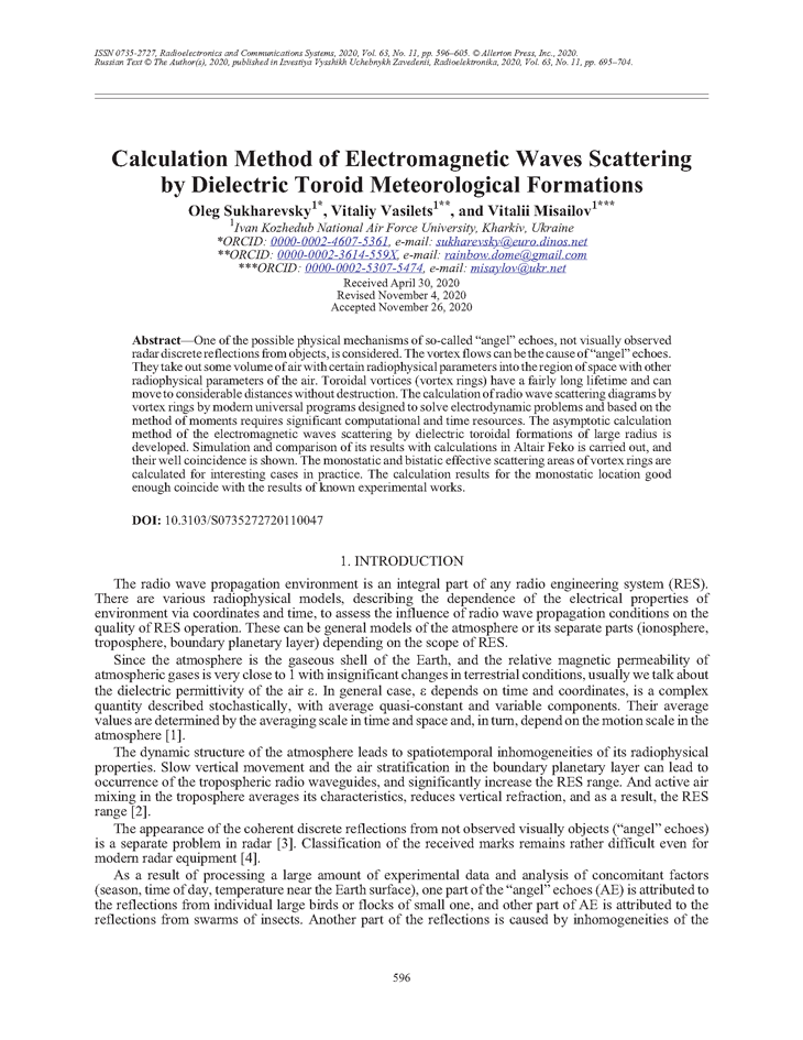 Sukharevsky, O.I. Calculation method of electromagnetic waves scattering by dielectric toroid meteorological formations (2020).  doi: 10.3103/S0735272720110047.